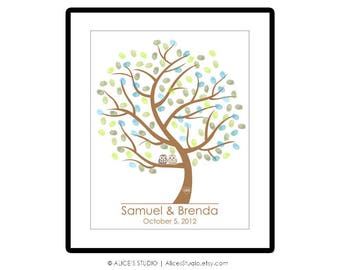 Wedding Tree Guest Book Alternative Poster - Love Birds Owls Fingerprint Guest Book - Canvas or Paper - Free Gift with Purchase