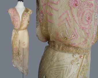 Antique Beaded Dress / 1910s / Wedding/ Evening / Gown  / Edwardian / W 26 / S