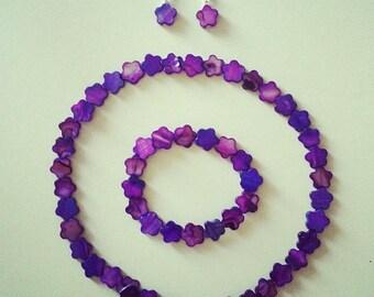 Purple flowers shell ornament