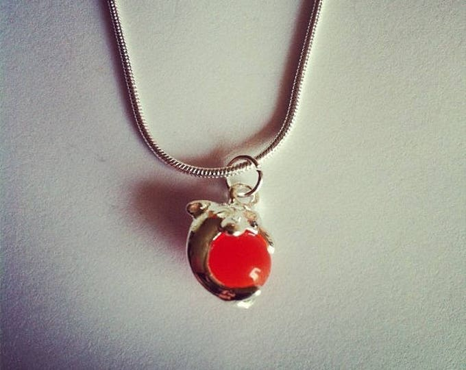 Red glass bead chain Dolphin pendant