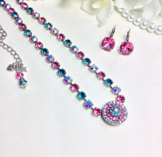 "Swarovski Crystal 6mm and Gorgeous 20mm "" Rosetta "" Center - Choose Your Own Custom Colors-  FREE SHIPPING"