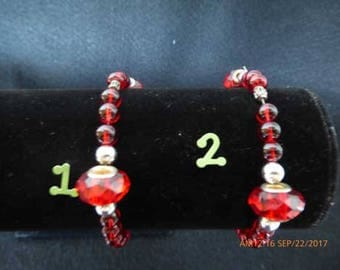 Red Glass and Rondelle with Silver beads stretch bracelet