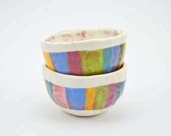 Set of 2 Pinch Bowls - Salt and Pepper Bowls - Condiment bowls - Ceramic Spice Bowls - Ceramic Bowls - Pottery Bowls