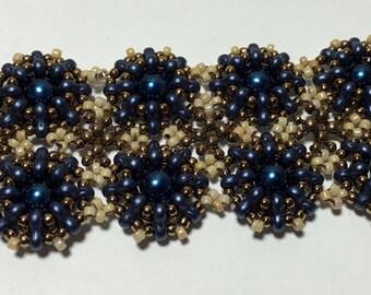 Bead Woven Bracelet Seed Bead Bracelet Blue Beaded Bracelet Beadwork Bracelet Hand Woven Bracelet Blue Tan Bracelet Peyote Bracelet