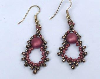 Woven Drop Earrings Beadwork Earrings Rose Brass Earrings Seed Bead Earrings Rose Bead Earrings Candy Bead Earrings Rose Drop Earrings