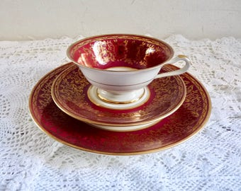 Vintage TEA TRIO, Tea Cup, Saucer, and Plate. Wine Red/ White with Gold Rims and Pattern. Stamped Eschenbach Bavaria. China Trio, Tea Party.