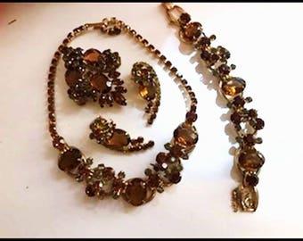 Juliana Grand Parure -  Vintage Amber and Smoke Rhinestone  D&E - Para-973a-071117145