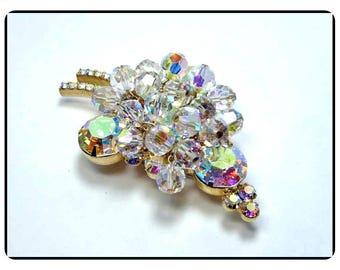 Vintage D&E Sparkling Crystal Juliana Brooch - Juliana Lovely Aurora Borealis Chatons w AB Dangling Crystals  - Pin-605a-071317035