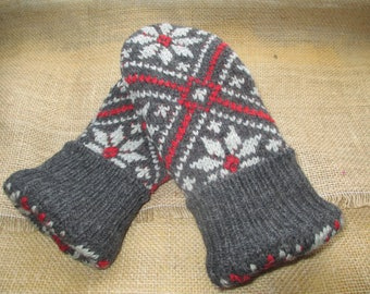 Felted Wool Sweater Mittens - Fleece-lined, Recycled, WARM Sweater Mittens, Medium Women's size - Gray and Red Mittens