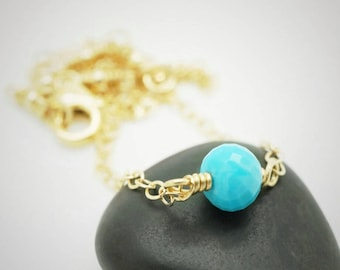 Gold turquoise anklet, 14k gold filled anklet with turquoise, Yellow gold anklet with turquoise gemstone