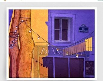 30% OFF SALE: Paris illustration - Au vieux Paris - Illustration Giclee Art Print Paris sunset Prints Posters Home decor Wall decor Purple O