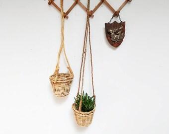Hanging Planter Basket Set / Small Planter Basket / Woven Basket / Hanging Basket Set / Hanging Basket Storage / Planter Vintage