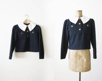 60s bouse - Wednesday Addams Top - Pilgrim Blouse - Mod Blouse - Black and White 1960s Top - Peter Pan Collar - Creepy Cute - XS S