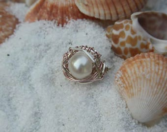 beautiful artisan made wire wrap pearl rings, retail or wholesale pricies