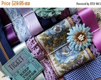 ON SALE 25% OFF Vintage Lace, Ribbons, and Trims No.29 | Purple and Blue Embellishment Collection | Sewing | Gift Wrap | Scrapbooking