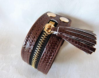 manchettte leather and metal bracelet