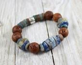 Artisan Yoga Bracelet~Mayan~Artisan Lampowrk Bead~Matte Fancy Jasper -Artisan-Yoga Stretch