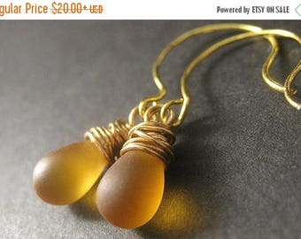 SUMMER SALE Wire Wrapped Earrings - Amber Frosted Glass Teardrops in Gold. Handmade Jewelry.