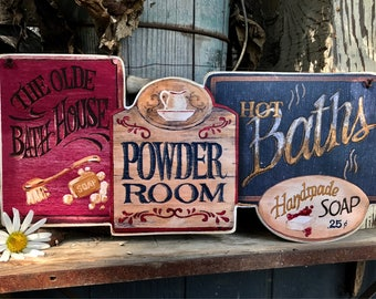 Olde Bath House , Powder Room , Hot Baths , Country Bath ,  Primitive Plaque , Picture Sign , Made in USA