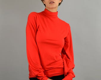 longsleeve red Turtleneck Red Sweater, red top, balloon sleeves, rayon longsleeve, Polo-neck sweater