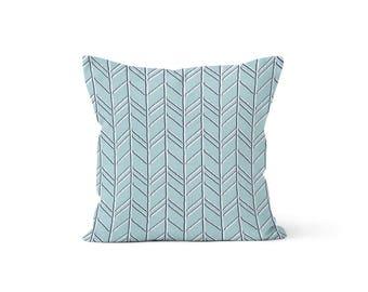 Blue Chevron Pillow Cover - Bogatell Spa - Lumbar 12 14 16 18 20 22 24 26 Euro - Hidden Zipper Closure
