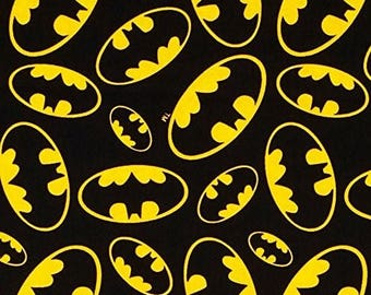 Batman Fabric, Batman Logo, Batman Quilting Cotton, Bat Logo, By the Half Yard