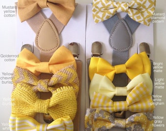 Yellow Mens Bow tie and suspenders Mustard Baby bowtie Boys Bow ties Toddler Necktie Groom bowties for men Rustic Wedding Ring Bearer Outfit