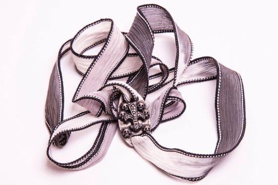 Silk bracelet with handmade bronze plate for men and women