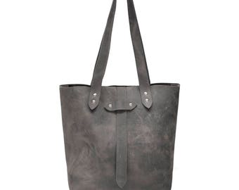 Leather Tote, Gray Medium Leather Tote, Bags and Purses, Shoulder Bag, Foil Monogram