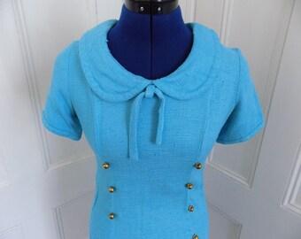 Vintage 1960s Blue Knit Mod Peter Pan Collar Wiggle Dress