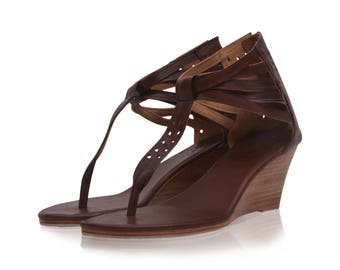 SALE. Sz. 6. BORA BORA. Brown leather wedges / women shoes / high heels / leather shoes / wedge shoes.