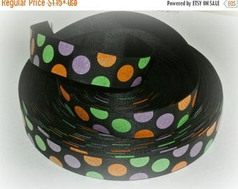 50% OFF 7/8 Ribbon by the Yard-Glitter Polka Dot grosgrain purple orange black polka dot-Halloween sewing-hair bows- Ribbon Lane Supplies on