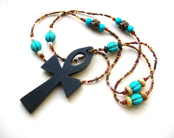 Bohemian Ankh Necklace - Long Bohemian Necklace - Turquoise Colored Beads - Boho Jewelry - Egyptian Ankh