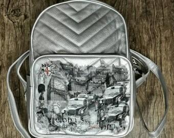 Decoupage/Woman Shoulder Bag/ Handbag / Clutch/ Backpack/ Shoulder Strap/Zipper/silver/car/leatherette/napkins/swarowski