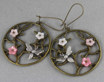 Bee Tree - vintage style antique brass earrings, tree of life earrings