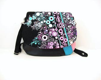 crossbody bag black and effervescence in pink and blue , shoulder bag in leatherette and graphic fabric , crossbody bag dotted fabric flap