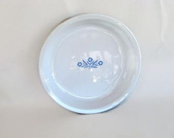 vintage Corning glass - ceramic pie plate Cornflower