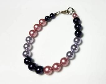 multicolor Swarovski crystal pearl sterling silver bracelet dark purple pink mauve pearl bracelet multi color beaded jewelry gifts for her