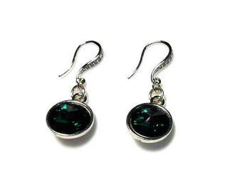 Emerald Green Swarovski Crystal 18mm Rivoli Earrings Hypoallergenic Earrings Nickel Free Earrings Dark Green Dangle Drop Beaded Jewelry