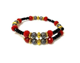 black red slate gray gold memory wire bracelet adjustable casual cuff bracelet beaded stacking bracelet everyday boho jewelry gifts for her