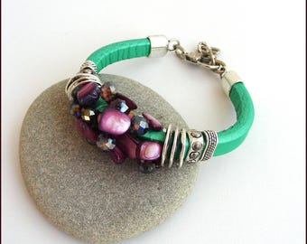 Bracelet leather thick green - Pearls Pearl plum/purple, metal and Crystal - women bracelet