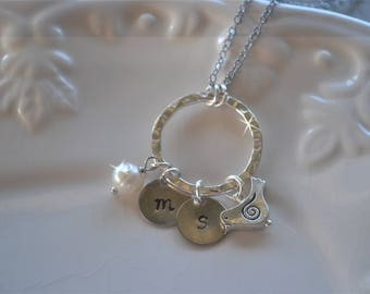 Hand Stamped Initial Necklace, Personalized Mothers Necklace, Monogram Necklace, Grandma Gift, Monogrammed Jewelry, Stamped Metal Jewelry