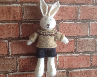 Knitted toy, hand knitted toy, handmade softie, soft toy, kids toy, rabbit toy, dressed bunny, present for kids, handmade bunny, new baby