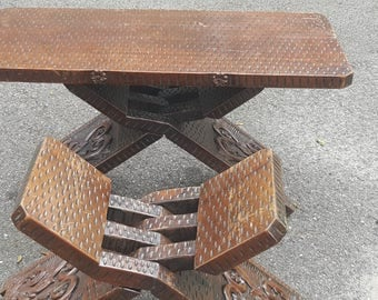 Hand carved Honduras table and bench
