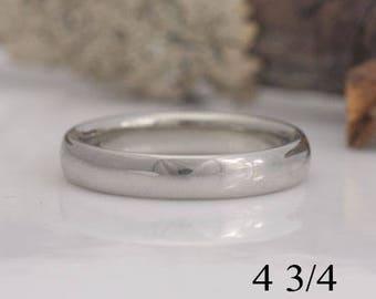 Bride's wedding band, 14k white gold wedding ring, size 4 3/4 ready to ship, #630.