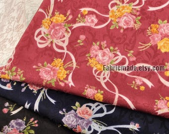 Silky Fabric, Vintage Rose Flower Jacquard Fabric For Dress Kimono Clothing  - 1/2 yard