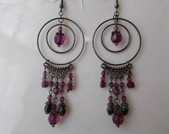 Bronze Tone Double Hoop Earrings with Purple Bead Dangles