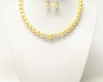 "14"" Yellow Glass Pearl Necklace/Bracelet & Earrings Set for Little Girl"