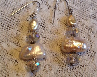 Fresh Water Pearl and Crystal Earrings with Sterling Silver Wires and Accents