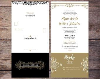 printable black and gold seal and send wedding invitation new years wedding wedding invite - Seal And Send Wedding Invitations
